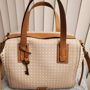 Fossil Emma Satchel Grey and White.